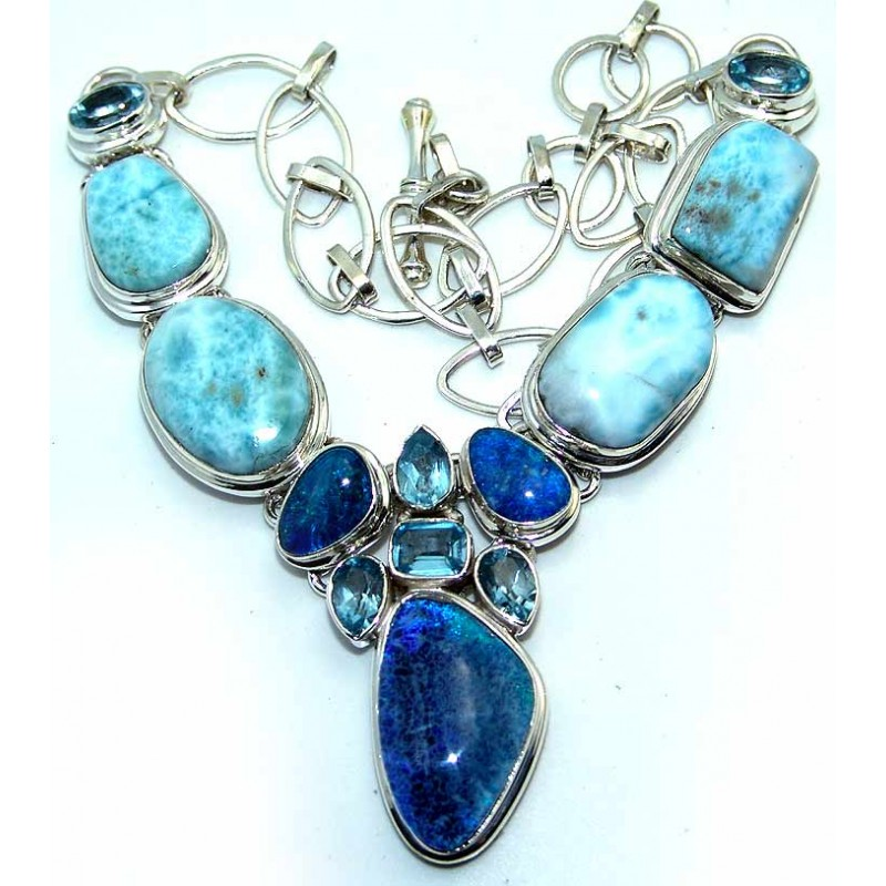 Natural Stone Jewelry : Destiny sterling silver larimar necklace