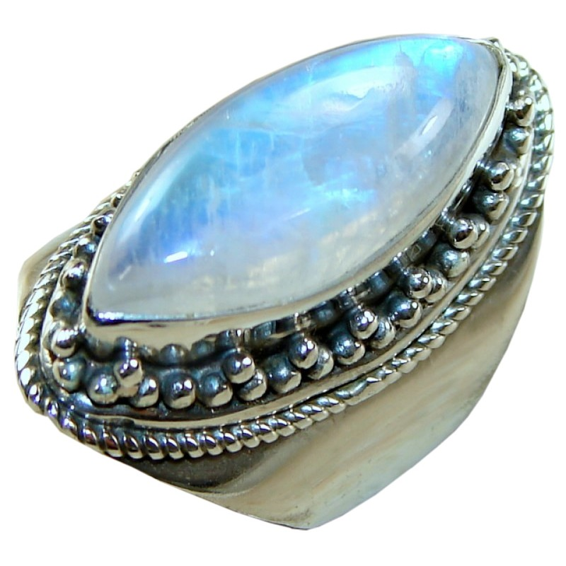 sterling silver moonstone ring ring with rainbow