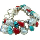 Evelyn Sterling Silver Coral  Bracelet