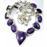 Violet Sterling Silver Turquoise  Necklace