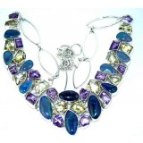 Aniyah Sterling Silver Lapis  Necklace
