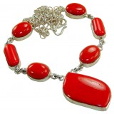 Coral Silver Necklace