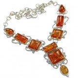 Amber Silver Necklace