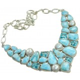 Micah Sterling Silver Larimar  Necklace
