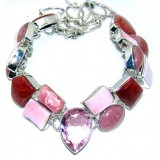 Leona Sterling Silver Rhodochrosite  Necklace