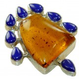 Courtney Sterling Silver Amber  Pendant