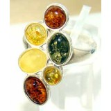 Ayla Sterling Silver Amber Ring
