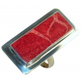 Elaina Sterling Silver Coral  Ring