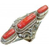 Coral Silver Ring