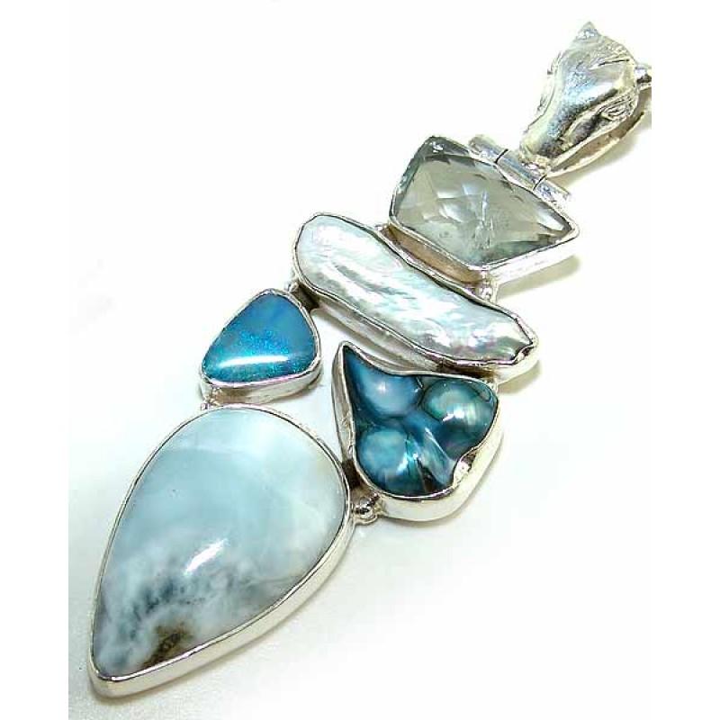 Aileen sterling silver larimar pendant silver pendant with larimar more views larimar silver pendant aloadofball Gallery