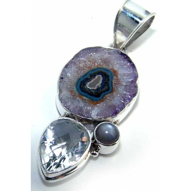 Brenna sterling silver gemstone pendant silver pendant with more views gemstone silver pendant aloadofball Image collections