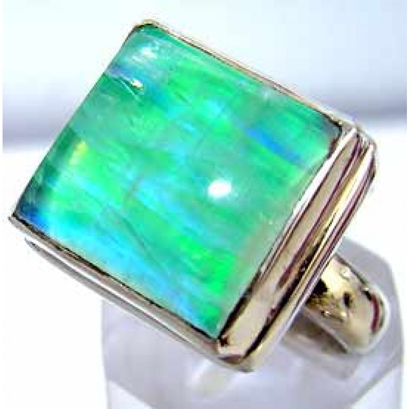 Lizbeth Sterling Silver Moonstone Ring Ring With Green