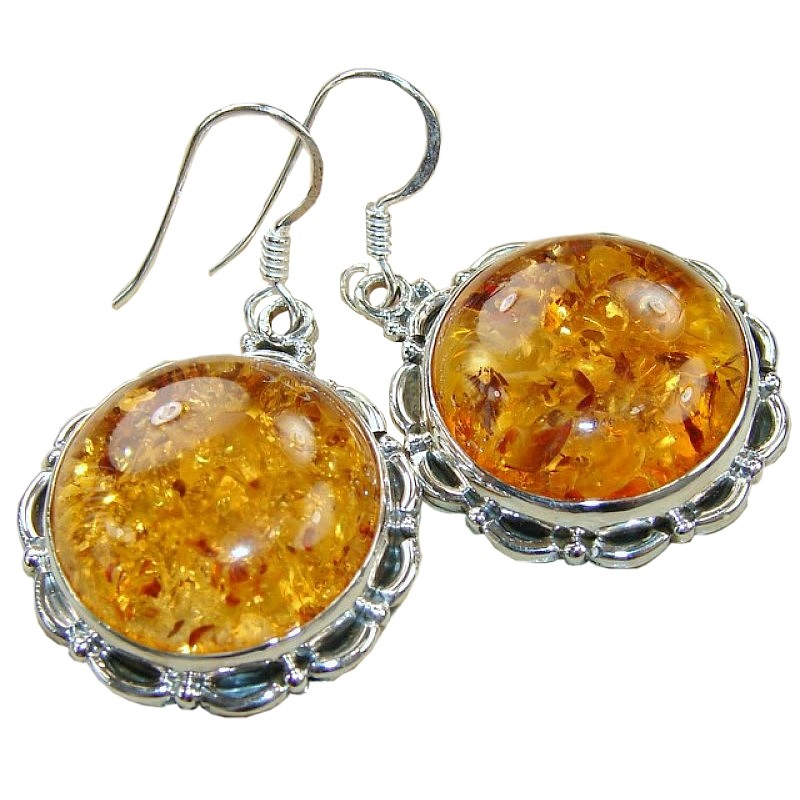 More Views Amber Silver Earrings