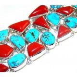 Genevieve Sterling Silver Coral  Bracelet