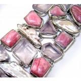 Leah Sterling Silver Rhodochrosite  Bracelet