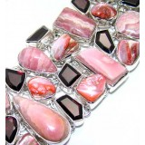 Jazmine Sterling Silver Rhodochrosite  Bracelet