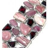 Rhodochrosite Silver Bracelet