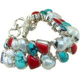 Evelyn Sterling Silver Coral  Bracelet