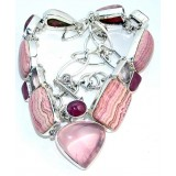 Delilah Sterling Silver Rhodochrosite  Necklace