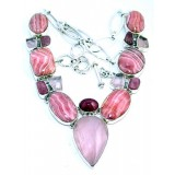 Rhodochrosite Silver Necklace