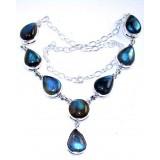 Aurora Sterling Silver Labradorite  Necklace