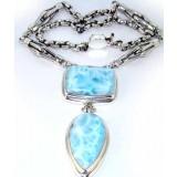 Elena Sterling Silver Larimar  Necklace