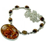 Jade Sterling Silver Amber  Necklace