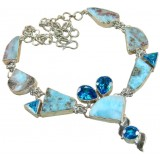 Alannah Sterling Silver Larimar  Necklace