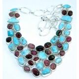 Jolene Sterling Silver Larimar  Necklace