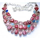 Naomi Sterling Silver Rhodochrosite  Necklace