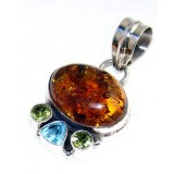 Dulce Sterling Silver Amber  Pendant