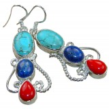 Renee Sterling Silver Lapis  Earrings