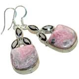 Rhodochrosite Silver Earrings