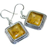 Hallie Sterling Silver Amber  Earrings