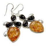 Elisabeth Sterling Silver Amber  Earrings